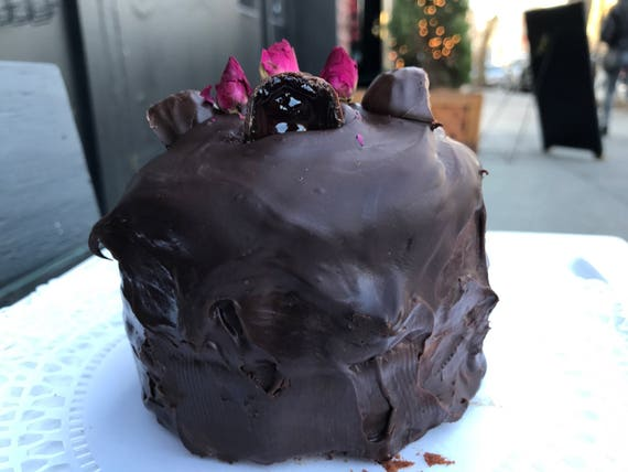 Vegan Gluten Free Mini Mocha   Dark chocolate cake with vegan fruit jelly