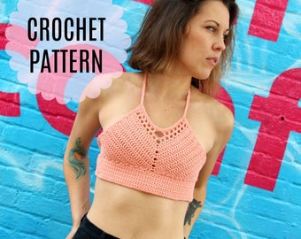 Womens Crochet Crop Top Pattern // Ladies Crochet Bralette Pattern // Crochet Festival Top Pattern // PDF Pattern Instant Download