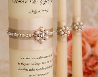 Wedding Unity Candle Set, Champagne Unity Candles, Champagne Wedding Candles, Personalized Wedding Candles, Bling Wedding Candles
