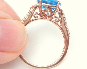 Sz 7.5,Solid 10K Rose Gold,Victorian Design Ring,Art Deco Style,Blue Sapphire,Diamond Cut Stone,Vintage,Lady's Gift,Engagement,Promise Ring
