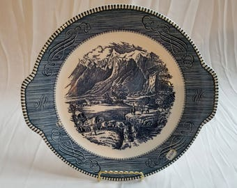 """Vintage Currier & Ives Cake Plate """" The Rocky Mountains"""". Vintage Servicewear, Country Server,  Vintage Cake plate, Currier And Ives"""