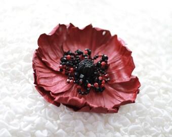 """Leather Brooch """"Poppy"""" art.18V4R51"""