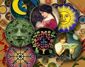 Digital Collage Sheet, Wiccan Symbols, Pagan, Majick, 30mm Circles, Pendant Images,  Printable Instant Download