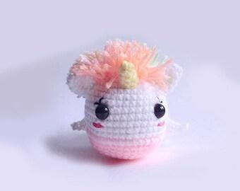 Crochet Amigurumi, licorne Winny - breloque sac, porte-clés, licorne, arc-en-licorne, ailes