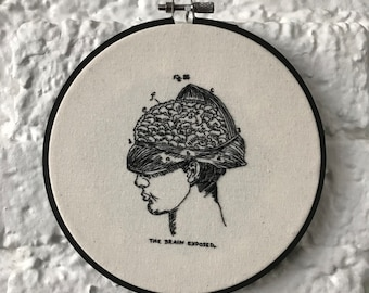 The Brain Exposed | Macabre Embroidery | Vintage Medical Illustrations