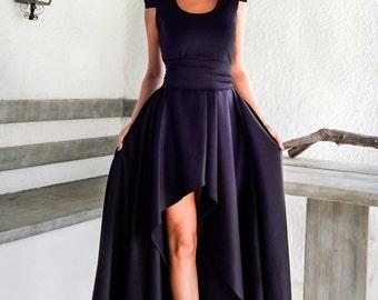 Short front long back shoulder pad dress - #95006