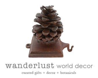 Rustic stocking holder, pinecone stocking holder, cast iron stocking holder, metal stocking holder, stocking holder, rustic stocking holder
