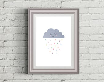 Rainbow Rain Cloud You Are My Sunshine Print Weather Kids Room Printable Wall Art Poster Nursery Decor Baby Shower Gift INSTANT DOWNLOAD