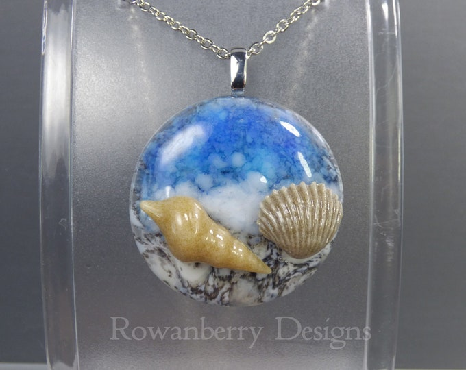 Featured listing image: BEACH & SHELLS - Handmade Fused Glass and Stainless Steel Pendant Necklace - Rowanberry SRA  - art painting- BFP1