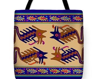 Peruvian Inca Serpent Tribal Folk Art PolyPoplin Tote Bag - SilkyPoly Throw Pillow - Inca Decor Pillow - Book/Laptop Bag - Exercise Gym Bag