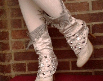 Steampunk studded spats with silver buttons side closure - foldable top edge