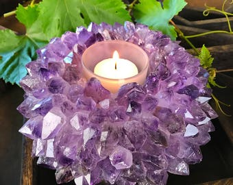 Large Amethyst Point Candle Holder - Crystal Decor- Metaphysical - Chakra Crystals (HW4-04)