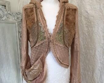 Jacket Fake fur,Vintage inspired jacket,beautiful repurposed crochet, lace cardigan,boho chic jacket,Victorian jacket, Christmas present, 20