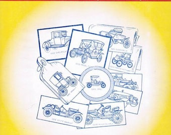 Antique Cars Aunt Martha's Iron on Embroidery Transfer pattern #3772
