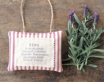 Red Ticking Stripe Hand Stamped Mothers Day Lavender Hanging Sachet Organic Lavender, Lavender Pillows, Natural Aroma Therapy