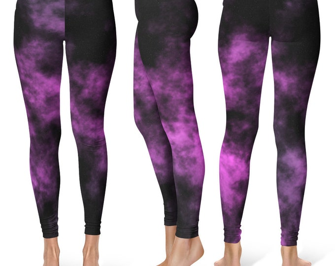 Galaxy Leggings Yoga Pants, Printed Yoga Tights for Women, Purple Space Pattern