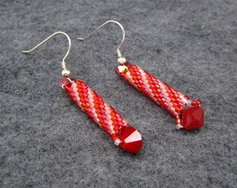 Beaded Dangle Earrings - Swirling Red Pink With Swarovski Crystals by randomcreative on Etsy