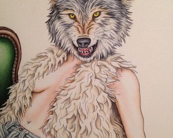 Burlesque Pinup Art Print Wolf 11x14 Of Wolf and Woman