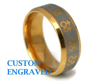 Engraved Stainless Gold Gay Ring -Personalized Lesbian Gay Pride Steel Ring - Stainless Steel Gay Pride Custom Ring - Lesbian Engraved Ring