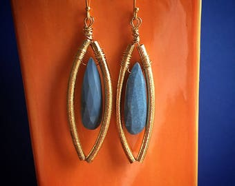 Peruvian blue opal and gold dangle earrings
