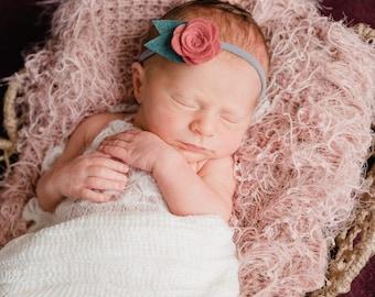 Wool Felt Floral Baby Headband.  Newborn Photo Prop.  Flower Headband for Infants. Photoprop Infants - Children - Adults