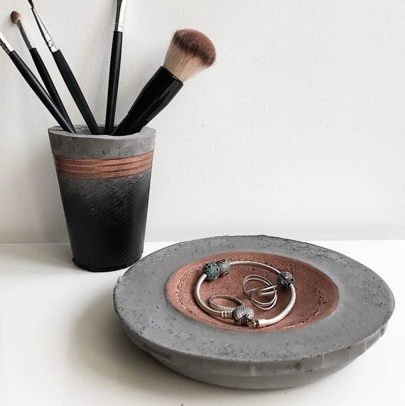 Ring dish Rose gold Pink Copper Jewelry Organizer Concrete