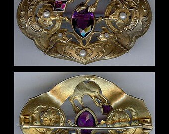 DUNN Art Nouveau antique purple faceted glass fantasy BIRD pearl sash pin BROOCH