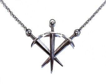 Three Swords necklace in sterling silver (tarot, dagger)