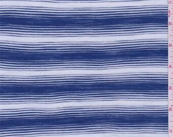 White/Blue/Grey Stripe T Shirt Knit, Fabric By The Yard
