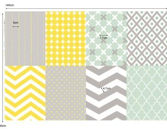 Scandinavian Style Simple Pattern Digital Printing Oxford Panel Fabric by Yard 55 Inch/ 140cm- 8 Designs Package