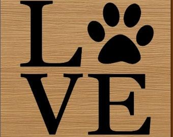 LOVE Paw Print Coaster Set