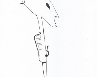 Original Tuned In Limited Edition Ink Drawing By BEAR