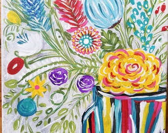Colorful flower painting, acrylic floral painting, flower vase painting, abstract flower painting