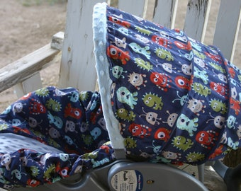 adorable little monsters with baby blue minky infant car seat cover and hood cover