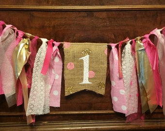 Hot pink birthday banner, Girls 1 year banner, one year birthday garland, Hot Pink and Gold Banner, Polka Dot Banner