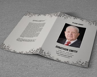 Funeral Program Template | Obituary Program Template | Photoshop & MS Word Template | Instant Download | T-253