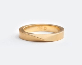 Man Wedding Band, Twisted Gold Ring, Male Wedding Ring, Mobius, Men's Wedding Ring, 18kt Gold Ring, Thick Ring 14kt Gold