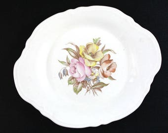 Pastel Roses. Vintage 1940s Knowles China Semi Vitroues oval platter.
