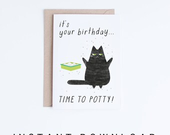 Printable Birthday Cards, Instant Download Funny Cat Birthday Cards, Black Cat Illustration, For Her, For Him, For Friend, Cat Lovers