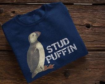 Stud Puffin Puffins Bird Puns Birding Birder Bird Watcher Animal Puns Funny Puffin Shirt Birding Shirt