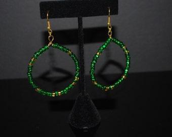 Green and gold Czech bead hoop women's earrings - green hoops earrings