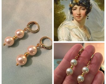 Glass PEARL, Late GEORGIAN or Regency, 925 Silver or 16k Gold plated brass, reproduction historic PEARL earrings, gold or silver