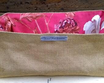 Organization basket empty Pocket storage decoration cotton red floral trend natural burlap