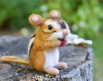 Seed the tiny chipmunk, needle felted animal fiber art