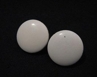 Vintage Round White Painted Metal Clip Earrings