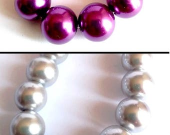 10 pearls 14mm glass, light grey or purple