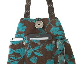 unique handbag, shoulder tote, hobo purse, hobo handbag, shoulder bag, tote with pockets ,fabric hobo bag, brown  bag