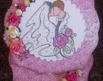 Boxed 6-inch Wedding Card, hand coloured Wedding Card/keepsake