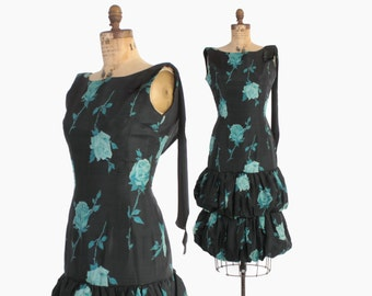 Vintage 50s Silk DRESS / Early 1950s Black & Blue ROSES Floral Cocktail Party Dress S