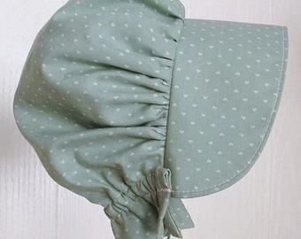Toddler Bonnet, Baby Bonnet, Sun Bonnet, Pioneer Bonnet ,Baby Girl Bonnet, - Green  -  Ready to Ship